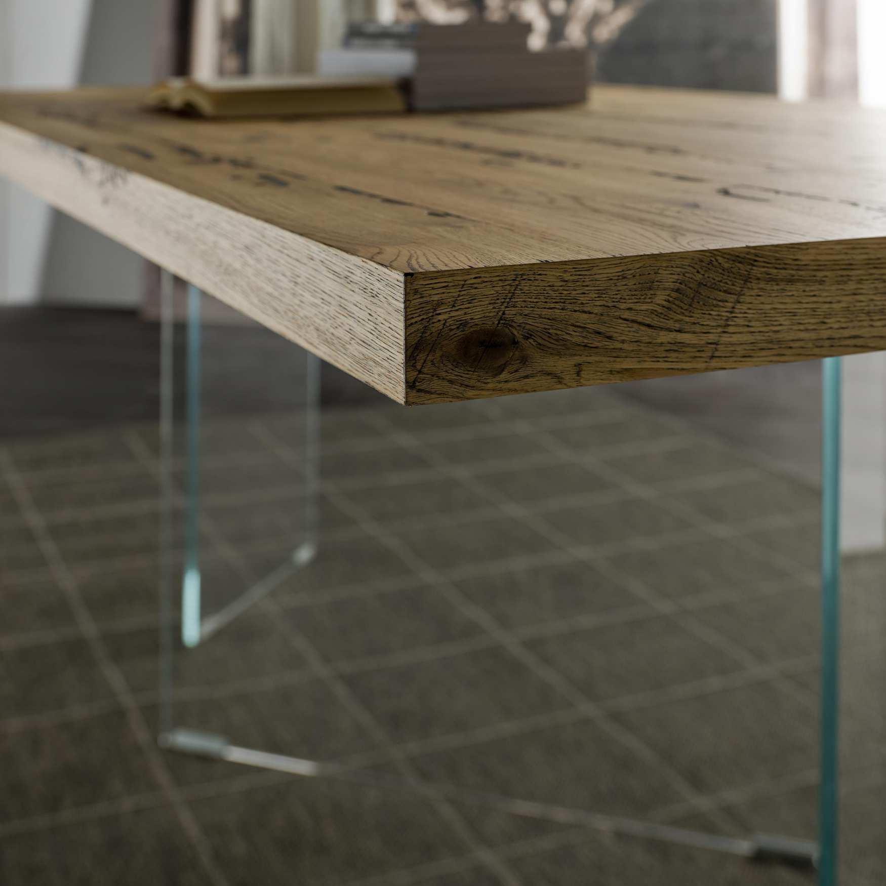 Tavolo in legno e cristallo Flai | milanomondo