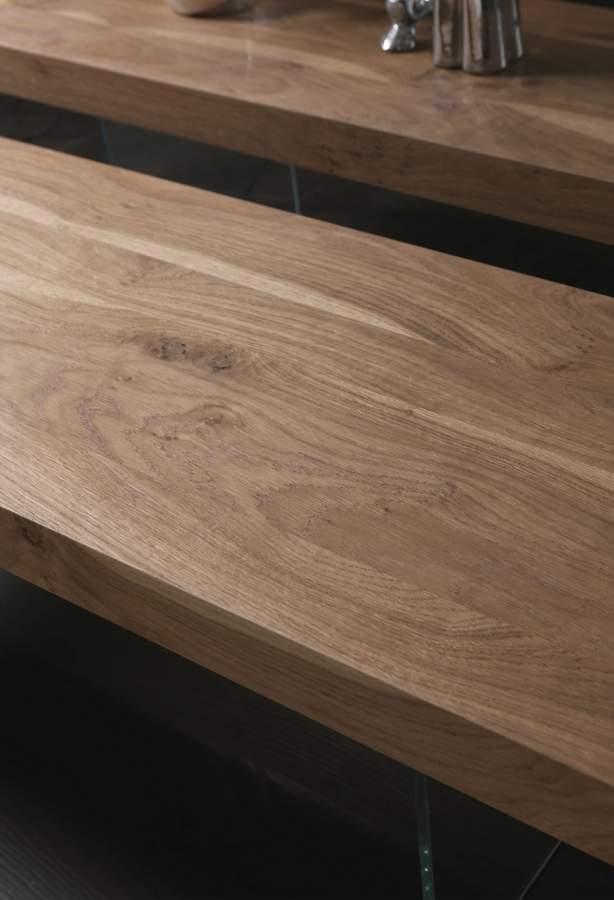 Crystal base wooden bench panchetta flai milanomondo for Vergani arredamenti