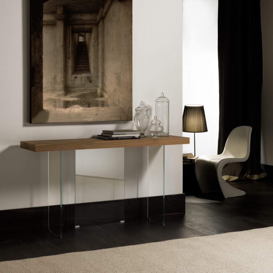Wooden console with tempered crystal base Flai