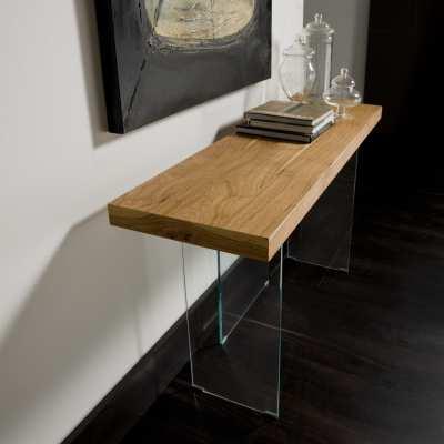 Consolle moderna legno e cristallo Flai piano in legno