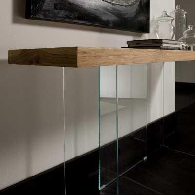 Consolle moderna legno e cristallo Flai basi cristallo