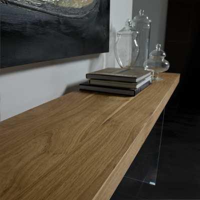 Consolle moderna legno e cristallo Flai piano in legno dritto