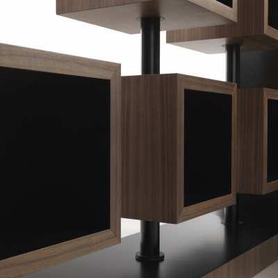 libreria design curvy dettaglio elemento girevole top centro allineato