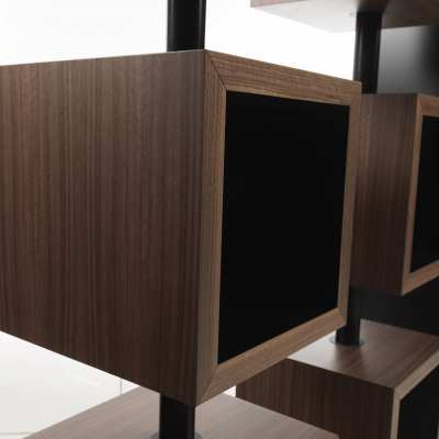 design bookcase curvy turning element detail