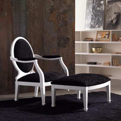 Sitting chair with pouff luna saturno