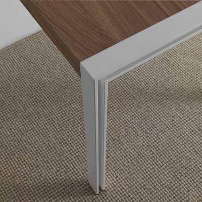 tavolo design skinny piano rovere naturale - struttura bianca