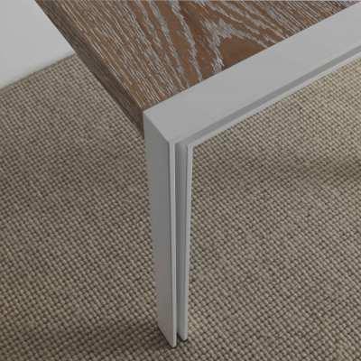 tavolo design skinny piano rovere nodi decappato - struttura bianca