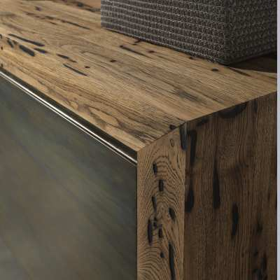 Venice's Briccole Twings 2 Ante Cupboard wood detail top and side zoom